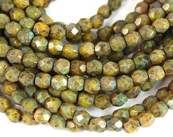 Chartreuse Picasso Czech Glass Firepolished 4mm Beads -50