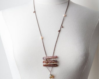 Earth Tone Shell Necklace, Tan, Shell necklace, One of a Kind, Beach Boho, Bohemian Necklace, Long Necklace, Shell jewelry, Gift for Her