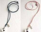 ANGEL CALLER necklace with 20mm copper bell silver plated and leather chain with silver pendant (boy - girl - round - heart)