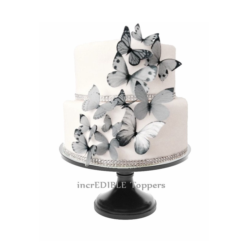 Wedding CAKE TOPPER Edible Butterflies In Gray Grey