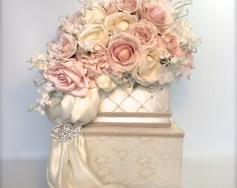 Wedding Card Box Ivory Pink Lace Wedding Card Holder  Secured Lock Wedding Card Box, Diamond Wedding Card Box, Off White Wedding Card Box