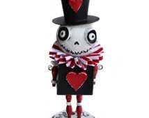 Valentine's Skelly - Spooky Valentine's - Valentine's Art Doll - Gothic Valentine's - MADE TO ORDER