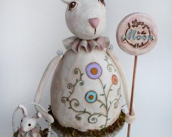 Primitive Bunny - Vintage Bunny - Spring Bunny - Bunny Art - MADE TO ORDER