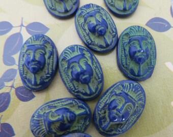 Vintage Glass Pharaoh Head Cabochon