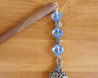 The Sorrowful Heart - blue and silver heart hair stick