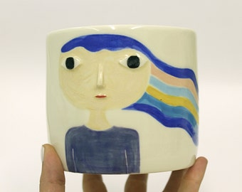 One of a kind illustrated pot - Rainbow hair - cache pot - planter / container