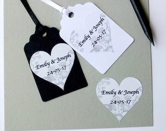 Love Heart Wedding Labels / Stickers, Personalised Names and Date, black & white grey - 24 per sheet, envelope seals, wedding stickers SH5