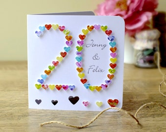 20th Wedding Anniversary Gift Ideas Uk : handmade 3d 20th wedding anniversary card 20th anniversary twentieth ...