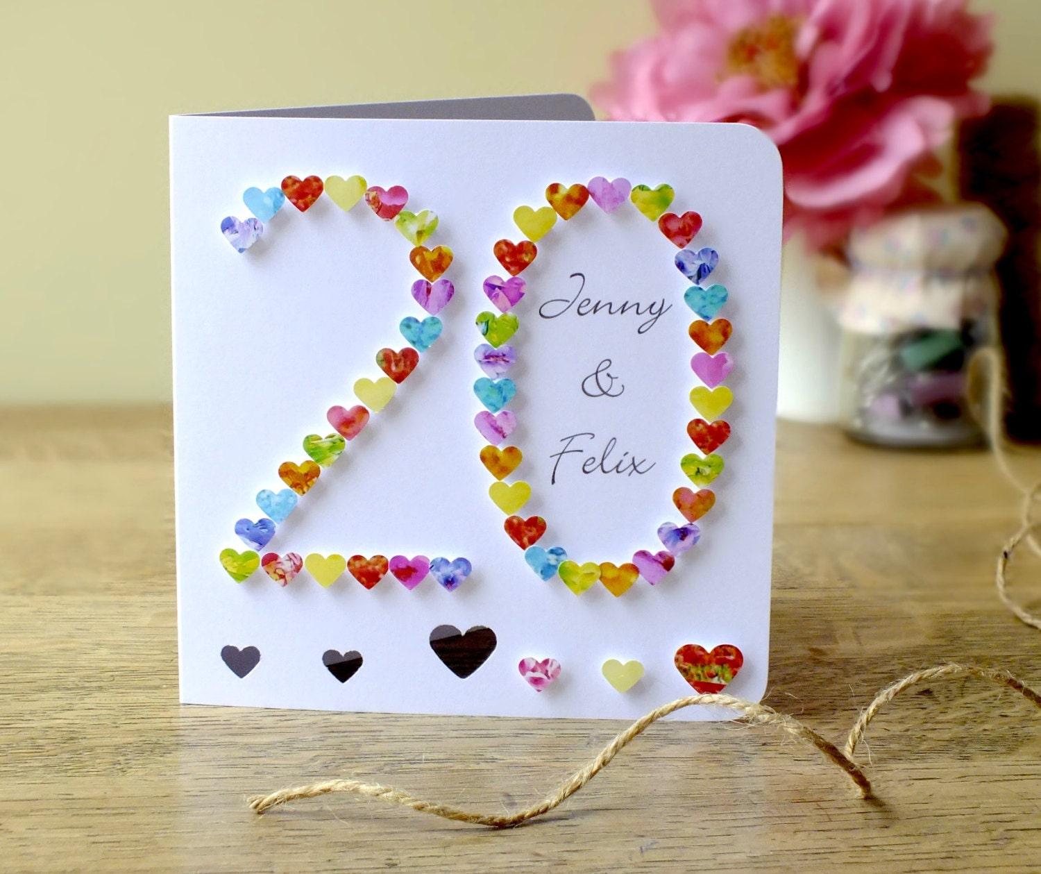 Twentieth Wedding Anniversary Gift: Handmade 3D 20th Wedding Anniversary Card 20th Anniversary
