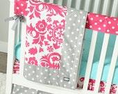 SALE! Baby Girl Crib Bedding - Hot Pink, Grey and Aqua Baby Bedding Crib Set 2, Ready to Ship!