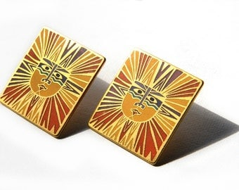 Laurel Burch, sun goddess, enamel, earrings, post, purple, gold, orange, pierced earrings, sun, post style