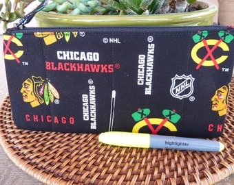 Handcrafted Chicago Blackhawks Zipper Pencil Case/ Pouch/ Gadget Bag