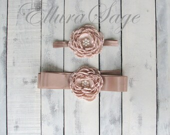 Flower Girl Headband and Sash - Bridal Sash -flower girls belt, Rustic wedding sash, Sash and headband set, Bridal Sash Set