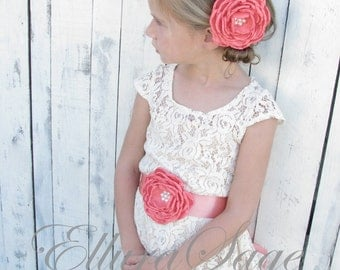Cream flower girl dress, Ivory lace baby dress, rustic flower girl dress, Baptism dress, 9M, 12M, 2T, 3T, 4T, 5T, 6, 7, 8, 9, 10, 11,12,14