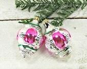 Vintage Glass Christmas Ornaments, Christmas Tree Ornaments, Pink Green Silver Ornaments, 1960s Christmas Holiday Decoration Decor