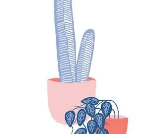 Plant Pals Poster . Cactus & Houseplant Illustration