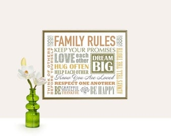 Family Rules Printable 10x8 and 14x11 INSTANT DOWNLOAD Art Print, Printable art wall decor, family rules poster Abstract art, digital design