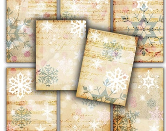 Christmas gift tags shabby snowflakes letters - Gift tags, ACEO , Printable Digital Collage Sheet to Download and Print 212