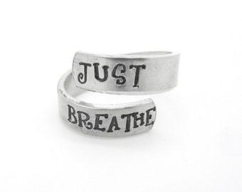 Handstamped ring, just breathe twist ring, adjustable ring - silver ring - boho ring - yoga meditation mindfullness - lotus flower, handmade