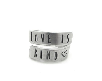 handstamped rings, silver adjustable, gift, aluminum wrap ring, twist ring, love is kind - daughter friend mother sister, handmade jewelry