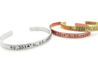 custom coordinates, latitude longitude bracelet, Personalized gift - hand stamped jewelry, coordinate bracelet - cuff, handmade jewelry