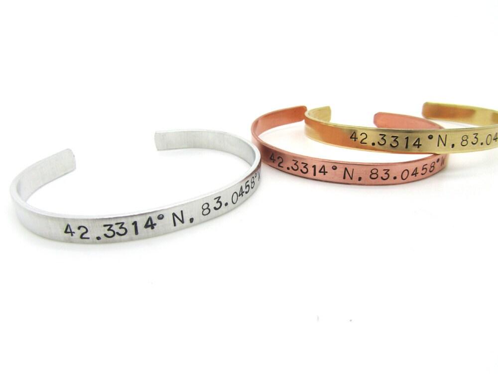 custom coordinates latitude longitude bracelet personalized