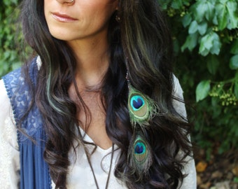 Peacock Feather Extension Weft Clip - Clip In Hair Extension Peacock Boho Wedding Hair Accessories