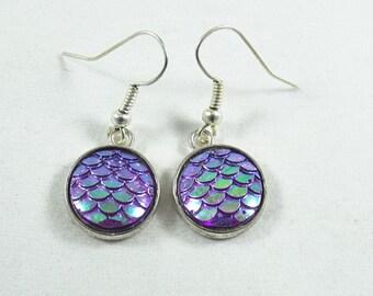 Silver Dangle Earrings, Mermaid Earrings Iridescent Purple Color Scale Cabochons,  Womens Gift  Handmade