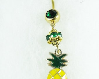 Dangle Belly Ring,    Gold Enameled Tropical Pineapple With Emerald Green Roundel Bead  Womens Gift Handmade