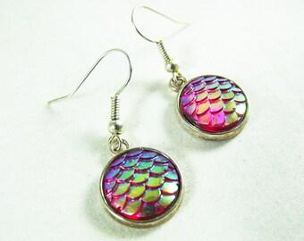 Silver Dangle Earrings, Mermaid Earrings Iridescent Multi Color Scale Cabochons,  Womens Gift  Handmade