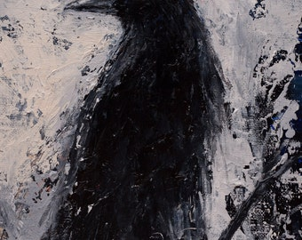 Edgar Alan Poe Gothic CROW Raven Giclee Print on Canvas of the Original Black and White Pallet Knife PAINTING