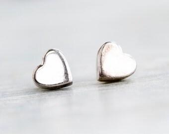 Sterling Silver Hearts Earrings - Eighties Stud Earrings