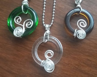 Wire Wrapped Wine Bottle Top Pendant