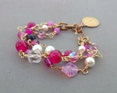 RESERVED Hot Pink Bracelet with Agate, Lapis Lazuli, Freshwater Pearl, Vintage Glass and Swarovski Crystal