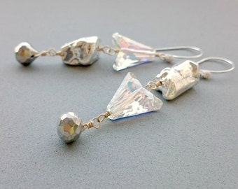 Reserved Inverted Silver and Swarovski Crystal Earrings with Agate, Pyrite and Sterling Silver