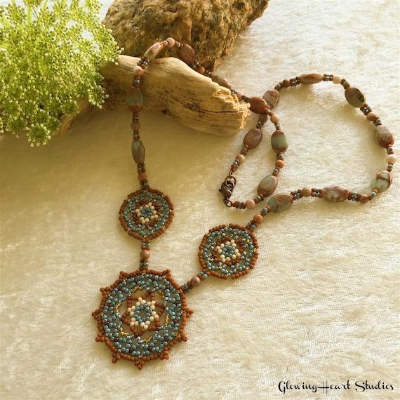 Beadwork Necklace , potters clay brown , aqua terra jasper gemstone jewelry , Canyon Song mandala wearable art