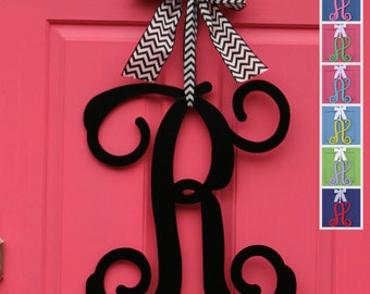 Monogram Wreath - Door Wreath - Door Monogram - Metal or Wood Monogram - Choose letter and bow color