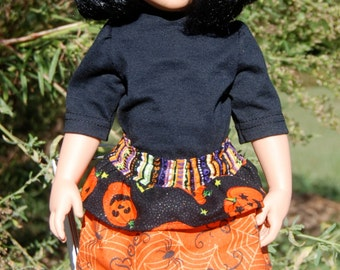 18 Inch Doll Clothes - Halloween Layered Skirt w/matching tights & coordinating black T-Shirt