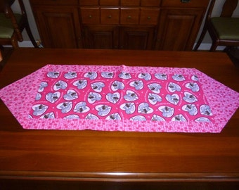 Valentine Table Runner - Squirrels nuts about you pink gray centerpiece topper or scarf