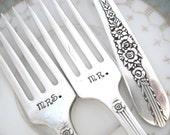 Wedding Forks - Hand Stamped Wedding Forks - I Do and Me Too  Forks - Royal Rose 1939