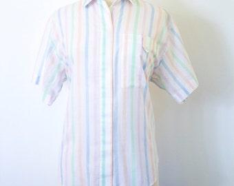 """REDUCED PRICE Vintage 1980s """"Diane Von Furstenberg"""" Pastel Striped Short Sleeved Oxford Shirt"""