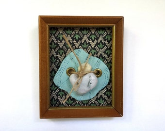 Rock Portrait in Vintage Brown Wooden Frame with Gold Edging: with navy blue chevron and green leaves pattern {2014}