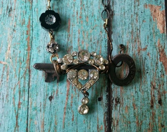 Upcycled vintage rhinestone earring and skeleton key necklace, repurposed, vintage hardware, steampunk, one of a kind jewelry