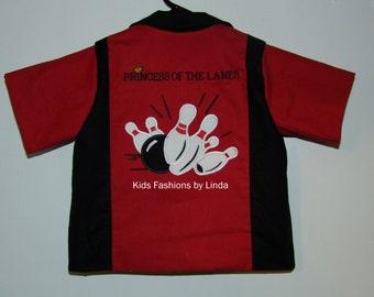 Princess of the Lanes Red/Black  Birthday Bowling Shirt