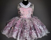 Alyssa flower girl dress - embroidered sequin lace in gray and mauve pink, full tutu, venice lace collar and brooch, custom colors
