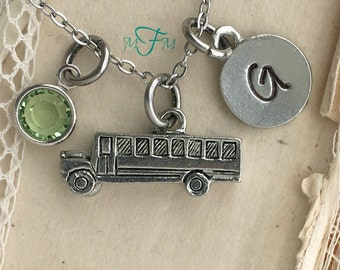 School Bus Charm Necklace, Silver Pewter School Bus Charm, Teacher Gift Bus Driver Gift Back to School Gift First Day of School