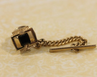 Vintage Golden / Gold Tone With Black Stone Tie Tack / Pin