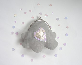 Cloud purse, silver linings, grey coin purse, silk heart, kawaii linen purse, silver sequins, shiny, sparkle, satin lining