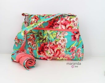 Diaper Bag with Changing Mat Pad-Stella Medium - Bliss with Coral Peach- 6 pockets -Nappy Bag- Baby Gear- Attach to Stroller
