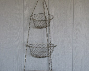 Vintage 3 Tier Gold Tone Wire Hanging Basket